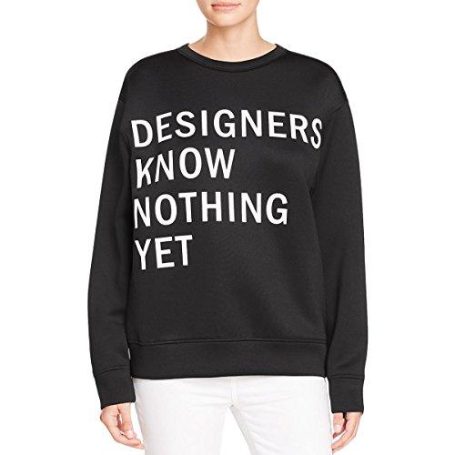 Dkny Wool Cardigan (DKNY Womens Scuba Graphic Crewneck Sweater Black S)
