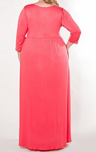 Confortables Femmes Taille Plus Solide Accepter Robe Maxi À Manches Longues Rouge Taille