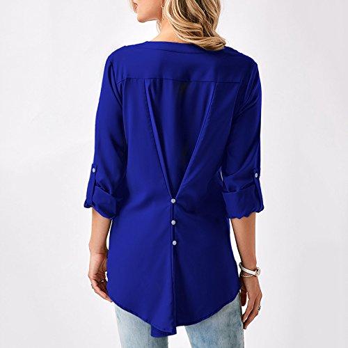 Printemps Bleu Slim Pull Tee Casual Chemise Femme Automne long shirt de iShine Top col Veste Dentelle pour Irrgulire Hiver Manches V avec Longues mi Pan 1q8W0WSO