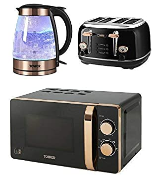 Tower Retro Stylish Kitchen Electrical Appliance Set Rose Gold Black Manual 20 Litre Microwave Rose Gold Black 1 7 Litre Illuminated Glass
