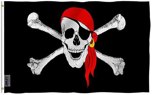 Anley Fly Breeze 3x5 Foot Jolly Roger Flag with Red Bandana - Vivid Color and UV Fade Resistant - Canvas Header and Double Stitched - Pirate Flags Polyester with Brass Grommets 3 X 5 Ft Pirate Flag Fabric
