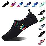 Mens Womens Water Shoes Barefoot Beach Pool Shoes Quick-Dry Aqua Yoga Socks for Surf Swim Water Sport (Black.WZ, 36/37EU)
