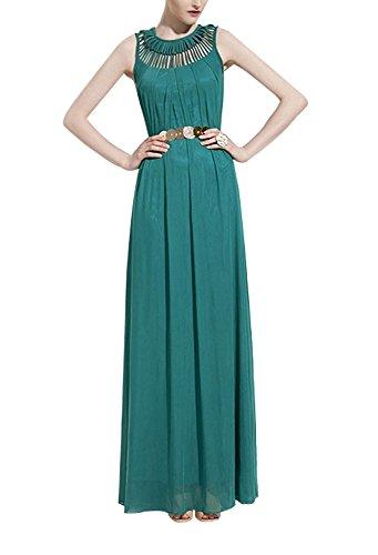 Minetom Sommer Damenkleid Maxikleid Chiffonkleid Abend Ballkleid lang Maxi Kleid (ohne Gurt) Grün iSpOHgaLSW