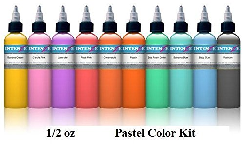 (Pastel 1/2oz Color Set - Intenze Tattoo Ink - 10 Bottles)