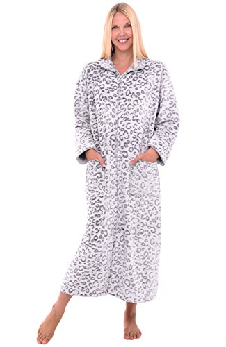 Alexander Del Rossa Womens Fleece Robe, Soft Zip-Front Bathrobe, 1X 2X Grey and White Leopard (Plus Size Dressing Up)