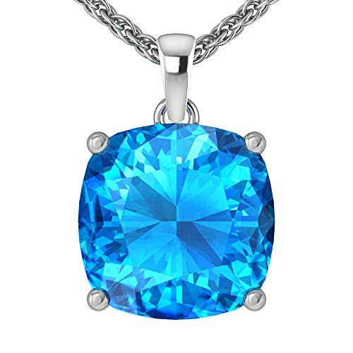 Belinda Jewelz Womens 14k White Gold Cushion Shape Gemstone Rhodium Plated Sparkling Prong Real Sterling Silver Fine Jewelry Classic Chain Hanging Pendant Necklace, 4.4 Ct Swiss Blue Topaz, 18 inch ()