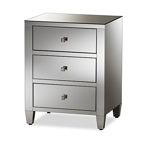 Baxton Studio Rosemarie Hollywood Regency Glamour Style Mirrored 3-Drawer Nightstand, ''Silver'' Mirrored by Baxton Studio