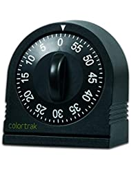 Colortrak 60 Minute Wind Up Timer, Easy To Operate, Set for Short Time, Sets From 0 to 60 Minutes, For Hair Color Processing, Cosmetic Applications, Tanning Time, Kids' Activities or Timeouts, Black