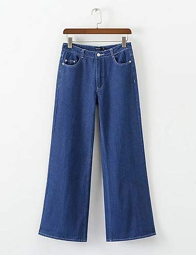 YFLTZ Pantalon Basic Jeans pour Femme - Couleur Unie Blue