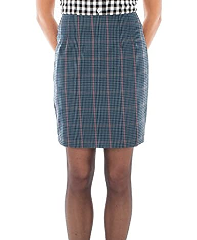 Blue Tweed Overcheck Fitted Skirt for 1960S/80s Mod Skin Ska Skinbryd, UK 14 - 32