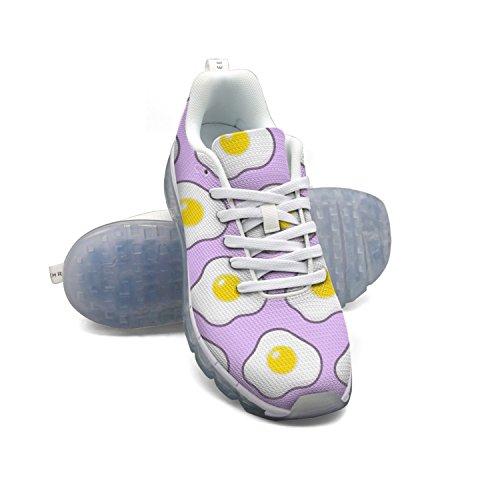 Cute Fried Egg Light Purple Women's Breathable Mesh Air Cushion Casual Fashion Sneakers looking for POkCEpLU