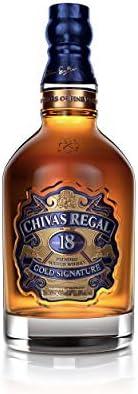 Chivas Regal Juego de 4 vasos de whisky escocés de 18 años, whisky, chupito, alcohol, botella, 40 %, 4 x 700 ml