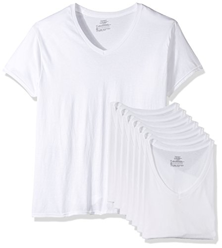 Cotton V-neck Mens T-shirts Undershirts (Hanes Men's 7-Pack ComfortSoft Tagless V-Neck T-Shirt (Bonus Pack), White, Large)