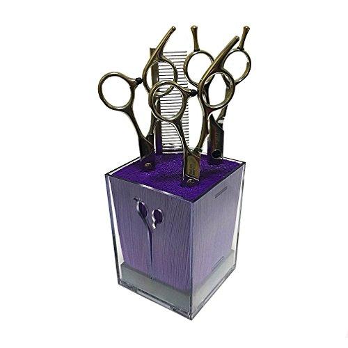 SYROVIA Salon Scissors Holder Box Hairdressing Combs Clips Organizer Rack for Hair Stylist(Purple & Transparent Acylic)