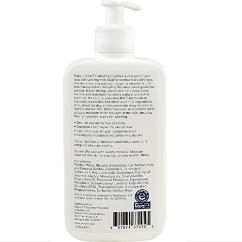 CeraVe Hydrating Facial Cleanser 12 oz ( Pack of 3)