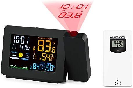 Noblik PT3391 Projektion Uhr Wetterstation mit Temperatur Sensor Buntes LCD Display Wettervorhersage (EU Stecker)