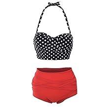 Simplicity Women's Vintage 50s High Waist Polka Swimsuit Bikini Set