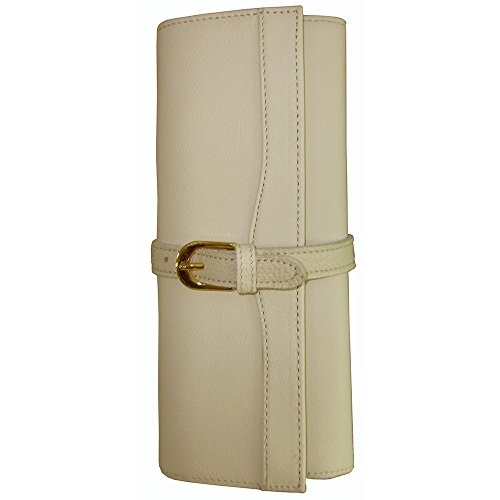 AmeriLeather Leather Jewelry Roll (Off White) (Leather Jewelry Roll)
