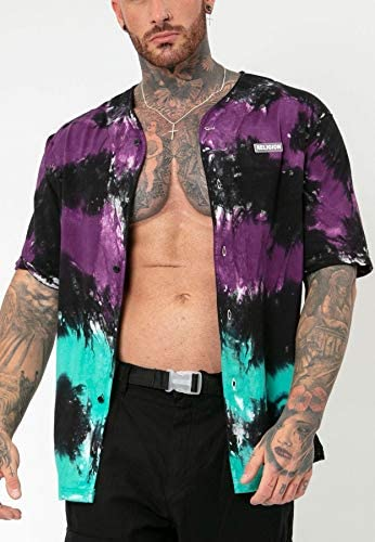 Religion Clothing - Camisa Baseball Mist – Morada/Negra/Turquesa - 10BMSH47 - L, Negro: Amazon.es: Ropa y accesorios