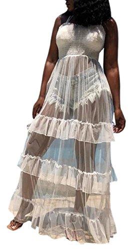 Jaycargogo Robes Sexy Femmes Sangle Spaghetti Haute Robe De Soirée Longue Maxi Taille Blanche
