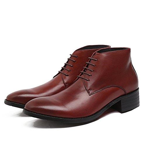 Santimon Hommes En Cuir Véritable À Lacets Cheville Chaussures Rouge