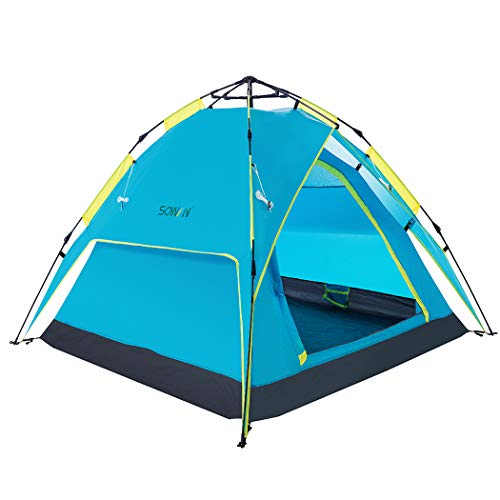 Sowin Automatic Pop Up Family Camping Tent 3-4 Person Backpacking Lightweight Waterproof Instant Dome Tents for Beach Outdoor Hiking Fishing with Carry Bag