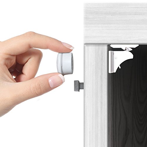Jambini Magnetic Cabinet Locks - Child Safety Locks - Baby Proofing Cabinets System - (4 Locks + 1 Key)