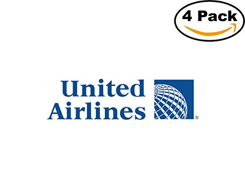 Airlines United Continental New Logo 4 Stickers 4X4 Inches Car Bumper Window Sticker Decal