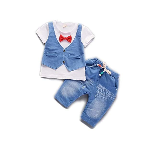 Bold N Elegant Ice Blue Waistcoat and Red Bow Attached Little Boy Baby Clothing Set Pyjama Tshirt Pant Set Dress for Baby Kids