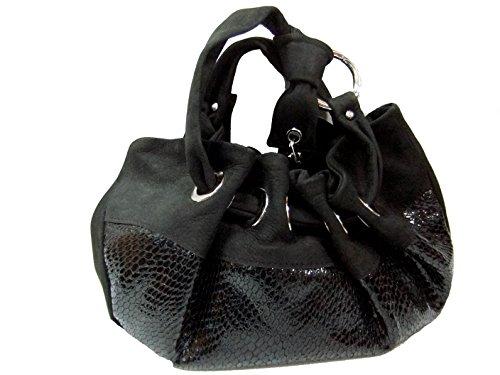 Barbara Milano Damen Abendtasche Beutelform Leder und Kroko-Optik Leder D056 schwarz