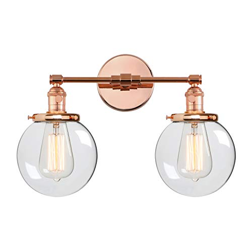 (Phansthy Bathroom Vanity Light Copper Finished 2 Lights Wall Sconce with Dual 5.9