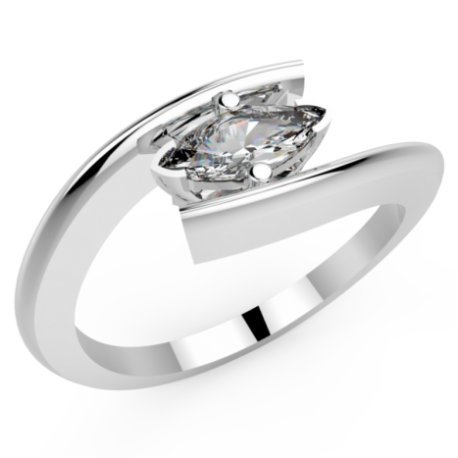 HABY MARQUISE Bagues Or Blanc 18 carats Saphir Blanc 0,6 Marquise