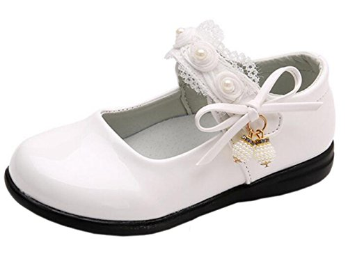 DADAWEN Girl's Strap School Uniform Dress Shoe Mary Jane Flat (Toddler/Little Kid) White US Size 1 M Little Kid -