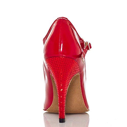 Minishion Womens Th012 T-strap Comfort Pleather Bruiloft Ballroom Latin Taogo Dance Sandalen Rood