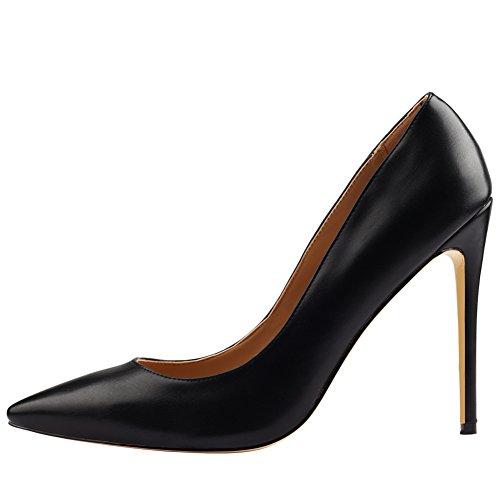 Mavirs Tacchi Alti, Scarpe Da Donna Scarpe A Punta Tacco A Spillo Tacco Alto Stiletto Slip-on Scarpe Da Sera Per Il Partito Nero Pu