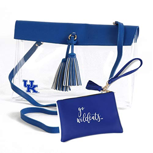 Desden Kentucky Wildcats Clear Handbag and Wristlet Combo with Logo, Vegan Leather Trim and Tassels