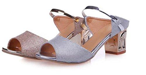 Ein bißchen 2018 Mode Joker Fischmund Pailletten Metallisch Sandalen Gold