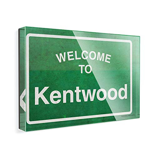 Acrylic Fridge Magnet Green Road Sign Welcome To Kentwood NEONBLOND