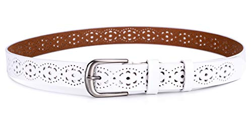 Ayli Women's Jean Belt, Classic Metal Buckle Hollow Flower Handcrafted Genuine Leather Belt, White, Fits Waist 32'' to 39'' (US Pant/Dress Size 8-20), bt6c005wh110 by As You Like It (Image #3)