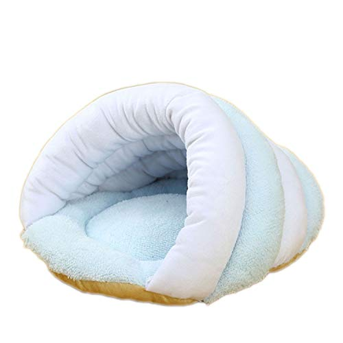 - Pet Cat Small Dog Puppy Kennel Bed Sofa Sleeping Soft Polar Fleece Bag House Pet Mat Warm Nest Puppy Cave Bed 5 Colors S-L,Blue Foundation,M