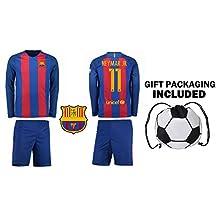 Fan Kitbag Neymar Jr #11 Barcelona Long Sleeve Soccer Jersey & Shorts Kids Youth Sizes ✓ Premium Gift Kit ✓ Soccer Backpack INCLUDED