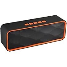 TechCode Sound Box Portable Travel Wireless Speaker, Bluetooth 4.1 Stereo Speaker, Low Harmonic Distortion, Patented Bass Port and Built-in Mic for Calls for iPhone, iPad, Samsung, or others (Orange)
