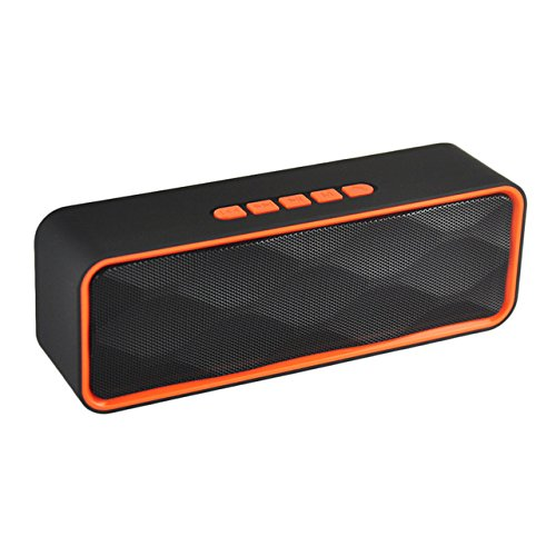 Vacio Bluetooth Speaker Wireless Mini Portable Handsfree USB TF Card FM Radio Stereo Sound Double Speaker Subwoofer Player foriPad Mini Pro, iPhone7/8 Plus,iPhone X,Samsung Galaxy Note 8/9 -Orange