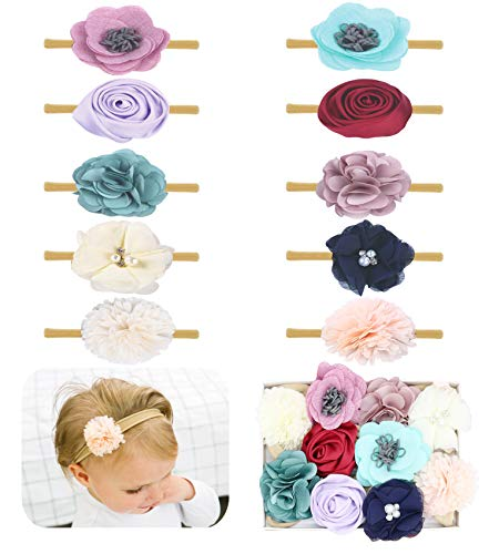 Baby Girl Headbands Bows flowers,10 Pack Hair Accessories for Newborn Infant Toddler Gift by FANCY CLOUDS ()