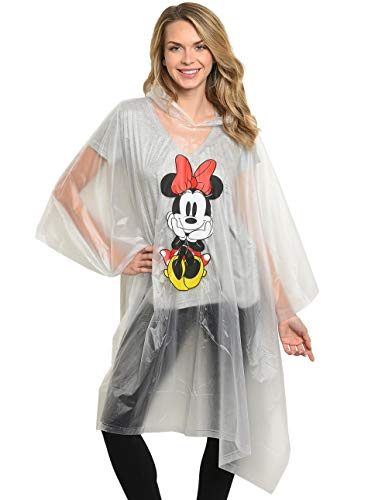Disney Minnie Mouse Rain Poncho Hoodie Front Back Print (Minnie - -