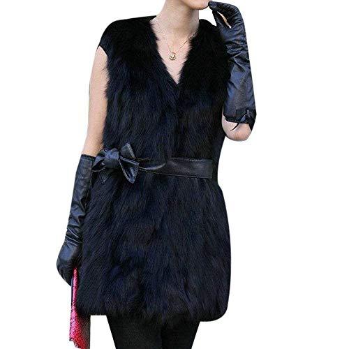 Fourrure Blouson Femme Automne Hiver Fourrure Synthtique Manteau Elgante Mode Vtements Casual Confortable Branch Outerwear sans Manches Vest Bowknot Veste en Fourrure Jacken Schwarz