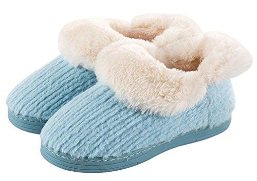 Cattior Dames Fleece Warme Pantoffels Gebreide Slippers Blauw