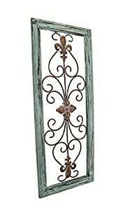 Amazon.com: Distressed Wooden Green Frame Wrought Iron ...