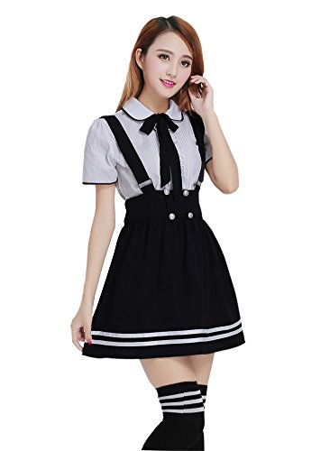Nuotuo Womens Japanese High School Uniform Sailor Pleated Skirt Outfit (L,Black-1) CC567D