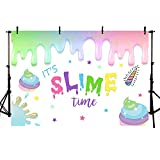 MEHOFOTO Unicorn Slime Photo Studio Booth Background Props Glitter Sparkle Slime Time Colorful Stars Happy Birthday Party Decorations Banner Photography Backdrops for Cake Table Supplies 7x5ft